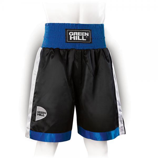 Профессиональные боксерские шорты Green Hill piper, черный/синий/белый Green HillШорты для бокса<br>Профессиональные боксерские шорты PIPER выполнены из тяжелого атласного полиэстера плотностью 180г/м2. Имеют резинку с тканым лэйблом GREEN HILL на талии. Еще один логотип GREEN HILL вышит на передней правой половинке трусов. С боков трусов имеются разрезы для более удобной работы ног и нырков.<br><br>Размер INT: L