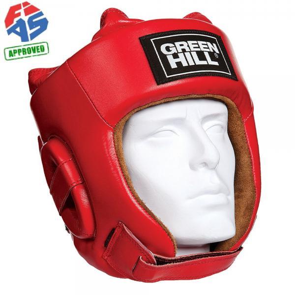 Шлем для боевого самбо Green Hill Five Star FIAS Approved, Красный Green HillБоксерские шлемы<br>Шлем Fivestar. Сделан из высококачественной натуральной кожи. Двойная система крепления (сверху и сзади), с фиксацией «липучкой» на подбородке, позволит максимально точно подогнать шлем по размеру. Отличный выбор не только для проведения соревновательных поединков, но и для тренировок. Размер: При подборе шлема следует также учесть, что размеры шлемов можно регулировать за счет специальных застежек. Для выбора шлемов, ориентируйтесь на следующие данные:охват головы - размер 48-53 см - S 54-56 см - М 57-60 см – L 61-63 см - XL<br>Лицензия FIAS для соревнований самого высокого уровня<br><br>Размер: S