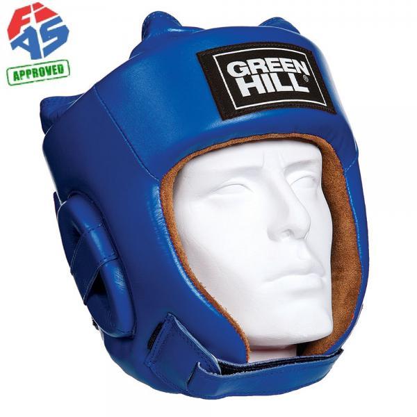 Шлем для боевого самбо Green Hill Five Star FIAS Approved, Синий Green HillБоксерские шлемы<br>Шлем Fivestar. Сделан из высококачественной натуральной кожи. Двойная система крепления (сверху и сзади), с фиксацией «липучкой» на подбородке, позволит максимально точно подогнать шлем по размеру. Отличный выбор не только для проведения соревновательных поединков, но и для тренировок. Размер: При подборе шлема следует также учесть, что размеры шлемов можно регулировать за счет специальных застежек. Для выбора шлемов, ориентируйтесь на следующие данные:охват головы - размер 48-53 см - S 54-56 см - М 57-60 см – L 61-63 см - XL<br>Лицензия FIAS для соревнований самого высокого уровня<br><br>Размер: XL