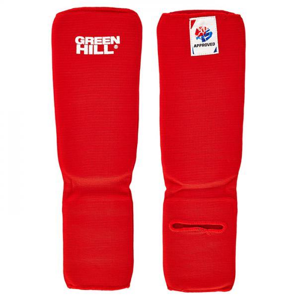 Купить Защита голени и стопы для боевого самбо Green Hill, одобрена fias Hill красная (арт. 21705)
