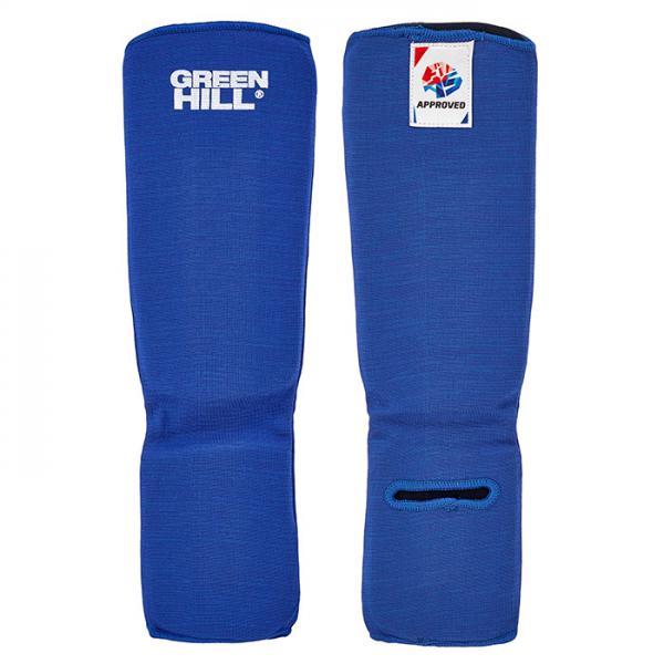 Купить Защита голени и стопы для боевого самбо Green Hill, одобрена fias Hill синяя (арт. 21706)