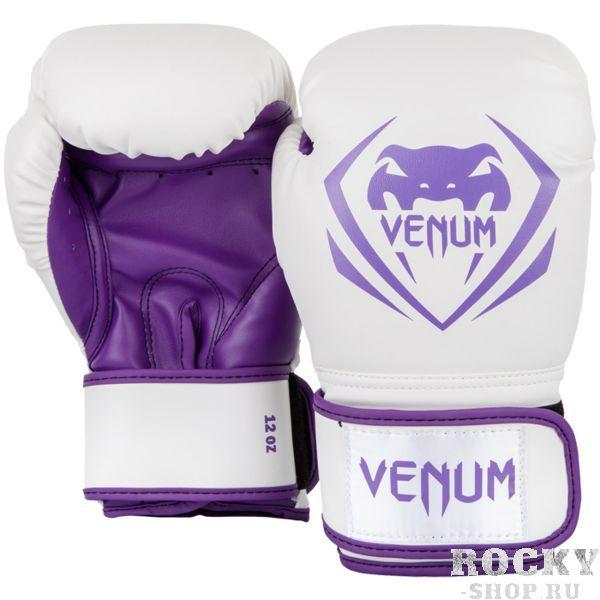 Боксерские перчатки Venum Contender White/Purple, 10 oz VenumБоксерские перчатки<br>Боксерские перчатки Venum Contender. Великолепное соотношение цена/качество! Отлично защищают руку! очень хорошо сидят на руке. Широкая застежка с резинкой, обеспечивает надежную фиксацию перчаток Venum на запястье. Внутренний наполнитель - пена для лучшей амортизации удара. Внешняя часть перчаток - Skintex Leather. Это современный надёжный искусственный материал. Подходят и для тренировок по боксу, мма, тайскому боксу, работы на мешках, а так же для соревнований определённого уровня.<br>