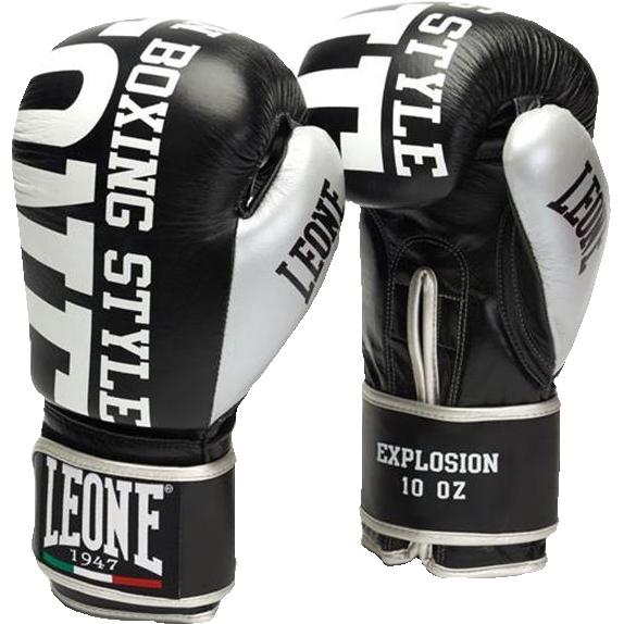 Боксерские перчатки Leone Explosion, 12 oz LeoneБоксерские перчатки<br>Боксерские перчатки Leone Explosion. Перчатки отлично садятся по руке и не доставляют каких-либо неудобств при использовании. Подойдет как любителям, так и для настоящих профессионалов. Можно использовать и для работы по мешку, и для работы в спарринге. Внешняя часть перчаток - кожа высокого качества, внутренняя - искусственная.<br>