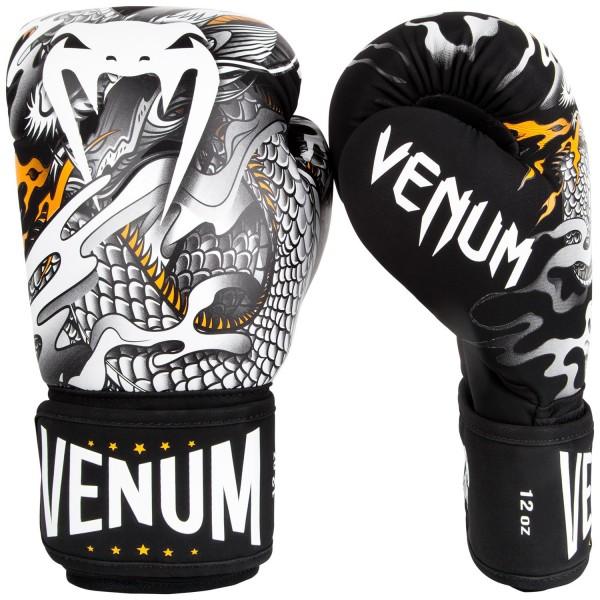 Купить Перчатки боксерские Venum Dragons Flight Black/White 12 унций (арт. 22437)
