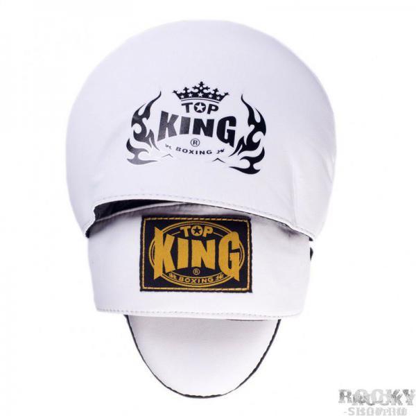 Боксерские лапы Super Top KingЛапы и макивары<br>Боксерские лапы Top King Super для отработки ударной техники. Специальное внутреннее наполнение лапы распределяет удар по всей поверхности, уменьшая его силу, что позволяет тренеру не уставать и эффективно проводить длительные тренировки. Сделаны боксерские лапы из натуральной кожи. Производство Таиланд.<br><br>Цвет: черный/белый