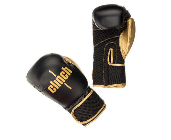 Купить Перчатки боксерские Clinch Aero черно-золотые Gear 10 унций (арт. 22618)