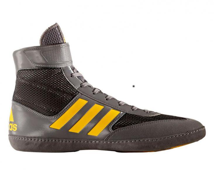 Борцовки Combat Speed.5 серо-желтые AdidasЭкипировка для Борьбы<br>Пятое поколение классических и удобнейших борцовок adidas Combat Speed 5!Модель получила новый цвет, добавлены дизайнерские вставки и новые принты. Улучшениям подверглись и материалы, текстильный материал верха, который обладает хорошей прочность и не подвержен деформации. Сетчатые вставки позволяют спортсмену чувствовать комфорт при использовании.<br><br>Размер: 44 [UK 10.5]