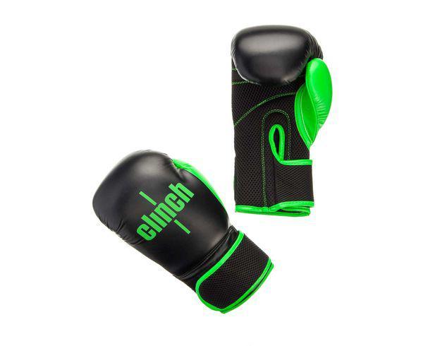 Купить Перчатки боксерские Clinch Aero черно-зеленые Adidas 14 унций (арт. 22697)
