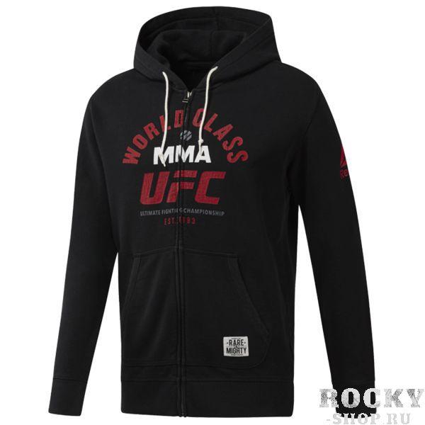 Худи Reebok UFC R &amp; M ReebokТолстовки / Олимпийки<br>Худи Reebok UFC R &amp; M. Официальная кофта UFC от Reebok. Удобная худи из мягкого хлопка с символикой UFC, которая отлично впишется в твой спортивный гардероб и согреет в прохладную погоду или после тренировки. Идеально для разного вида тренировок и на каждый день, оценят поклонники UFC. Облегающий крой отлично подходит для тренировок и совершенно не стесняет движений. Капюшон на шнурке. Манжеты и подол в рубчик для комфортной посадки. Материал: 100% хлопок, плотный трикотаж для тепла и комфорта. Уход: машинная стирка в холодной воде, деликатный отжим, не отбеливать.<br><br>Размер INT: L
