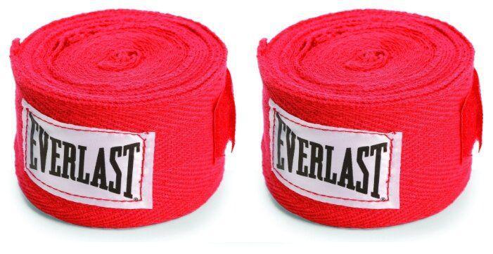 Боксерские бинты Everlast 2,5 метра, 2,5 метра EverlastБоксерские бинты<br>Бинты Everlast предназначены для защиты во время работы в перчатках. Использование бинтов помогает избежать растяжений и вывихов. Бинты сделаня из 100 % хлопка. Петля для большого пальца и застежка-липучка для надежной фиксации. Комплект - 2 шт.<br><br>Размер: Красные