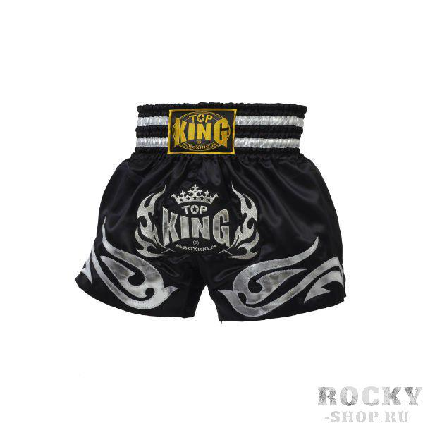 Шорты для Тайского бокса, черный/серебро Top KingШорты для тайского бокса/кикбоксинга<br>Стильные и удобные шорты для тайского бокса Top King черные с серебром обязательно придутся по вкусу всем поклонникам единоборств. Шорты производства тайской компании Top King носят звезды тайского бокса, ведь они на 100% соответствуют требованиям, предъявляемым к спортивной экипировке. Модель сделана из атласа с полиэстером, что обеспечивает минимальный вес и максимально комфортные ощущения во время носки. Шорты легко стираются, быстро сохнут и не теряет внешнего вида после многих стирок. Шорты сделаны вручную в Таиланде.<br><br>Размер INT: l