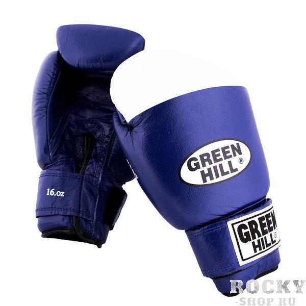 Перчатки боксерские SUPER STAR, 16 унций Green HillБоксерские перчатки<br>Натуральная кожа<br> Ладонь из замши<br> Манжет на липучке<br> Отлично годятся для соревнований<br> Белая ударная часть<br><br>Цвет: Синий