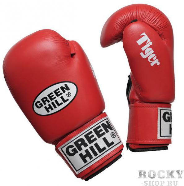 Перчатки боксерские TIGER, 12 унций Green HillБоксерские перчатки<br>Верх из 100% кожи<br> Внутреннее наполнение из сфомированного пенополиуретана<br> Манжет липучка<br><br>Цвет: Красный