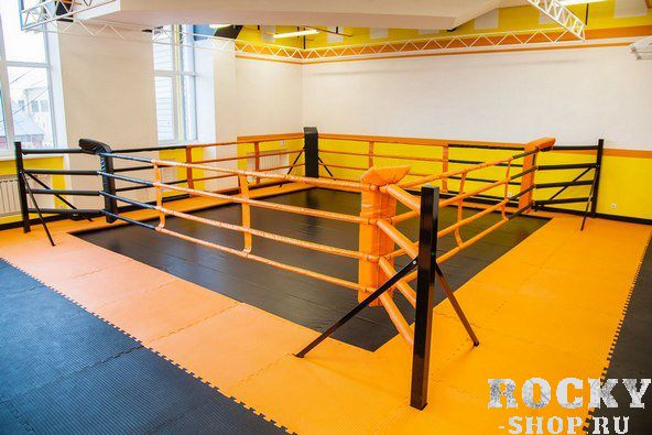 Ринг TotalBox напольный на упорах, 4-х канатный, 5х5 метров AquaboxОборудование для залов и клубов<br>Боксерский ринг на упорах – это один из вариантов напольного ринга. Он представляет собой удобную, компактную и простую в эксплуатации конструкцию. Идеально подходит для тренировок спортсменов в помещениях с небольшой площадью и невысокими потолками. Особенностью этого ринга является небольшая монтажная площадь по сравнению с другими типами напольных рингов, так как упоры ринга не выходят за границы боевой зоны (канатов). Крепление угловых стоек (4 шт. ) и упоров (8 шт. ) к полу производится анкерными болтами, по 4 шт. на каждую стойку и упор. Покрытие ринга сделано из импортной ткани ПВХ. По краю имеются люверсы и шнур, которые закрепляются к угловым стойкам ринга и служат для натяжения покрывала. <br>Комплектация включает в себя: Стойки угловые с элементами крепления для канатов и упоров, изготовлены из трубы профильного сечения, покрашены методом порошкового напыления. Упоры к стойкам – изготовлены из трубы профильного сечения, поставляются в комплекте с монтажными пластинами для крепления к полу. Мягкий настил сделан из пенополиуретана вторичного вспенивания, толщина которого составляет 25 мм, а плотность 160 кг/м3. Мягкий настил застилает всю поверхность рабочей зоны ринга и выходит за канаты, выполняя все требования безопасности. Канаты с системой натяжения выполнены из металлического троса, обернуты ПВХ и обшиты мягким материалом и искусственной кожей. С каждой стороны система натяжения имеет четыре ряда канатов с двумя перемычками, восемь бело-красных и восемь бело-синих канатов. Угловые подушки (две белые, одна красная и одна синяя) плавной изогнутой формы с мягким наполнителем изготовлены из искусственной кожи легко и надежно закрепляются с помощью липучки в углах ринга.<br>