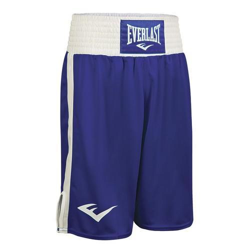 Шорты для бокса Everlast Elite, сине-белые EverlastШорты для бокса<br>Удобство во время тренировок и боёв – одна из составляющих их успешного исхода для Вас. В трусахElite, представленных брендомEverlast,Вы будете чувствовать себя комфортно. Их свободный крой и разрезы по бокам не будут ограничивать движений. Модель очень прочна, поскольку пошита из полиэстера, который прошёл специальную обработку и стал более мягким и приятным для кожи. Everlast Elite можно подвергать машинной стирке. Они быстро сохнут, не нуждаются в глажке и не утратят яркость цвета и первоначальную форму. Фиксация на талии осуществляется благодаря широкой упругой резинке на поясе. Модель выполнена в синем цвете с белыми вставками по бокам и белым поясом, на который декорирован эмблемойEverlast.<br><br>Размер INT: M