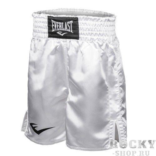 Шорты боксерские атласные Everlast, Белые EverlastШорты для бокса<br>Трусы боксерские изготовлены из высококачественного атласа. Широкий пояс обеспечивает плотное облегание вокруг талии. Длина выше колена, высокие разрезы обеспечивают свободу движения боксера.<br><br>Размер INT: L