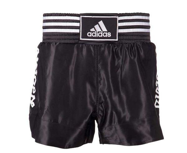 Купить Шорты для тайского бокса Thai Boxing Short Satin черно-белые Adidas (арт. 25574)