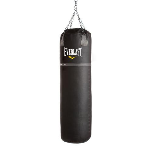 Мешок боксерский Everlast Super Leather 125lb 55кг EverlastСнаряды для бокса<br>Тяжелый боксерский мешок изготовлен из кожи Премиум класса. Капсула, наполненная под давлением специально смешанным наполнителем, цепь с пружиной, обеспечивающая дополнительную устойчивость мешка от раскачиваний и не дающая рваться петлям обеспечивают надежность, долговечность и функциональность. Кожа высокого класса и 2-дюймовый слой полипропилена обеспечивают амортизацию и дополнительную защиту от травм. В верхней части мешок усилен трехслойной кожаной прокладкой для обеспечения жесткости и прочности в местах крепления цепей. Эти мешки можно встретить во всех ведущих боксерских залах мира. В комплект входят цепи, пружина и поворотный карабин.<br>