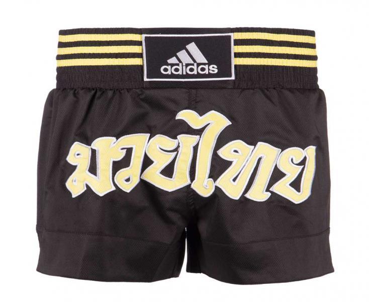 Купить Шорты для тайского бокса Thai Boxing Short Micro Diamond черно-желтые Adidas (арт. 25584)