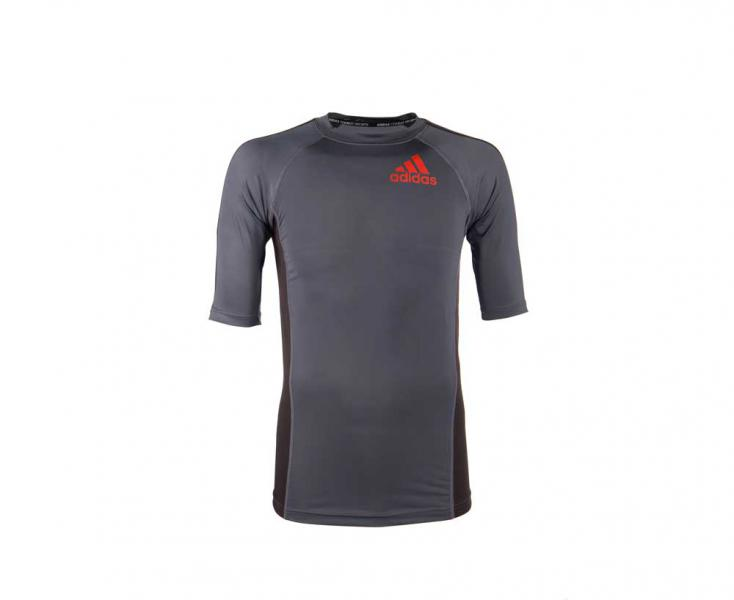 Футболка компрессионная (Рашгард) Grappling Rashguard Short Sleeve черно-красная Adidas