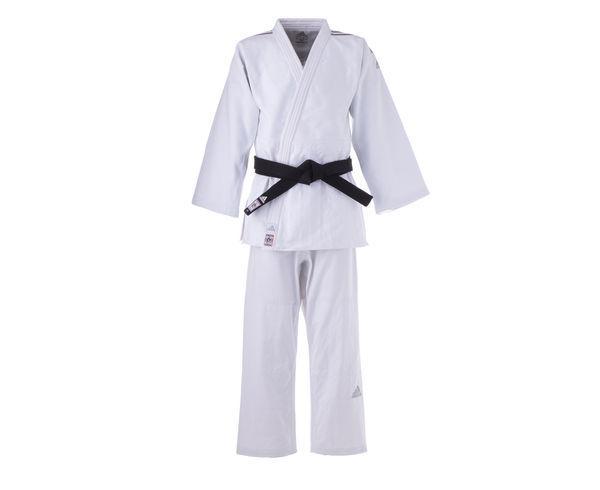 Купить Кимоно для дзюдо Champion 2 IJF Slim Fit Premium белое с серебристыми полосками Adidas (арт. 25604)