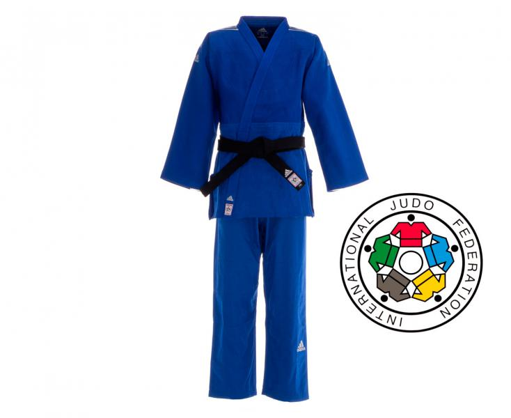 Купить Кимоно для дзюдо Champion 2 IJF Premium синее с серебристыми полосками Adidas (арт. 25605)