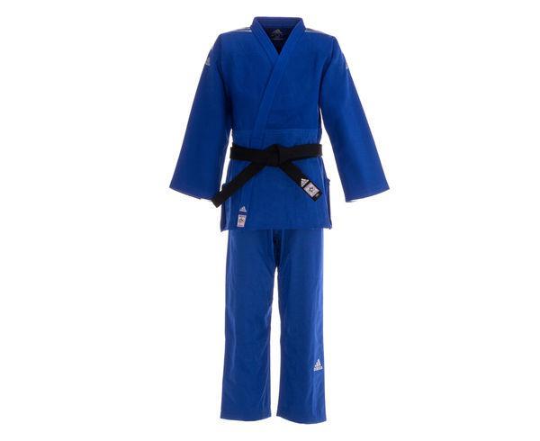Купить Кимоно для дзюдо Champion 2 IJF Slim Fit Premium синее с серебристыми полосками Adidas (арт. 25606)