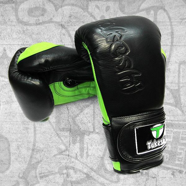 Купить Перчатки боксерские Takeshi Fight Gear Black/Green FG 12 oz (арт. 26776)