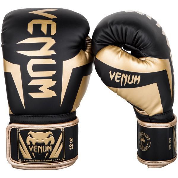 Купить Перчатки боксерские Venum Elite Black/Gold 12 унций (арт. 26865)
