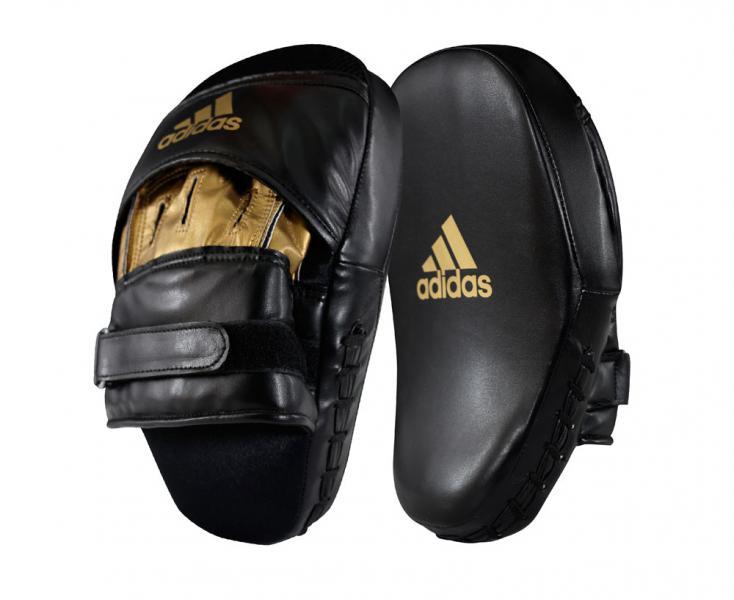Лапы Training Curved Focus Mitt Short черно-золотые Adidas