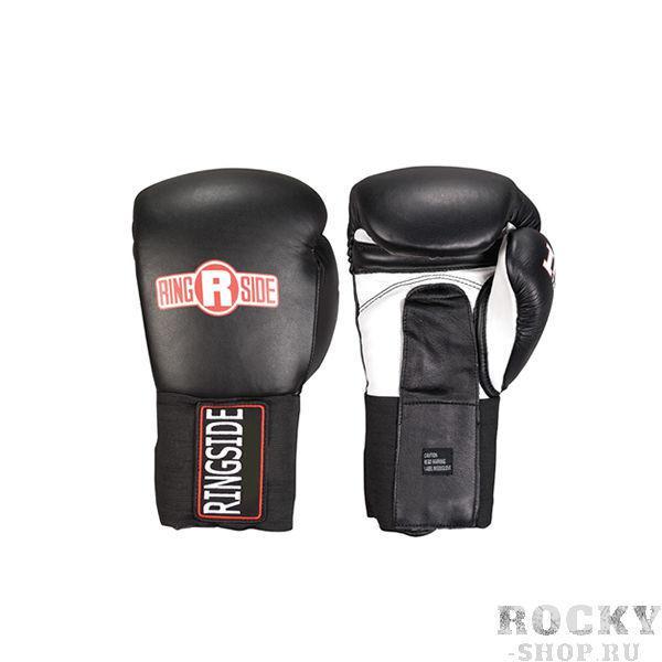Перчатки боксерские тренировочные, 14 унций RINGSIDEБоксерские перчатки<br>Пенный наполнитель толщиной не менее 6 см<br> Пришитый большой палец<br> Крепление липучка<br> Манжет резинка с логотипом RINGSIDE закрывающий липучку<br> Материал - 100% кожа<br><br>Цвет: Чёрные