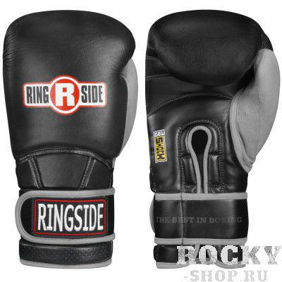 Перчатки боксерские тренировочные, 18 унций, Чёрные/серые RINGSIDEБоксерские перчатки<br>Гелевый наполнитель<br> Пришитый большой палец<br> Крепление липучка с логотипом RINGSIDE<br> Материал - 100% кожа<br><br>Цвет: Чёрные/серые
