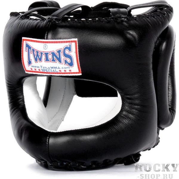 Шлем тренировочный, закрытый, Размер L Twins SpecialБоксерские шлемы<br>Шлем тренировочный, закрытый от Twins Special. <br> Защищает лицо от травм<br> Крепление на подбородке и сзади выполнено в виде манжетов на липучке<br> Сверху мягкие пластины на шнурках, позволяющие подгонять шлем по высоте и обеспечивать плотное прилегание к голове<br> Вокруг ушей мягкий валик для защиты боковых поверхностей головы<br> Отличный обзор<br> Кожа премиального качества<br> Ручная работа<br><br>Цвет: Черный