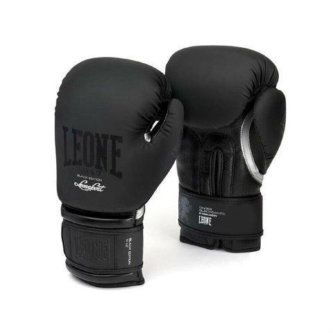 Боксерские перчатки Leone 1947 BLACK&WHITE GN059 черные, 12 унций Leone