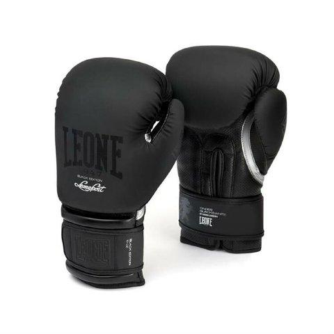 Боксерские перчатки Leone 1947 BLACK&WHITE GN059 черные, 16 унций Leone