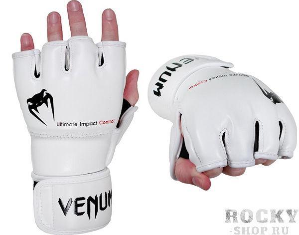 Купить Перчатки ММА Venum Impact Gloves - Skintex Leather White (арт. 2873)
