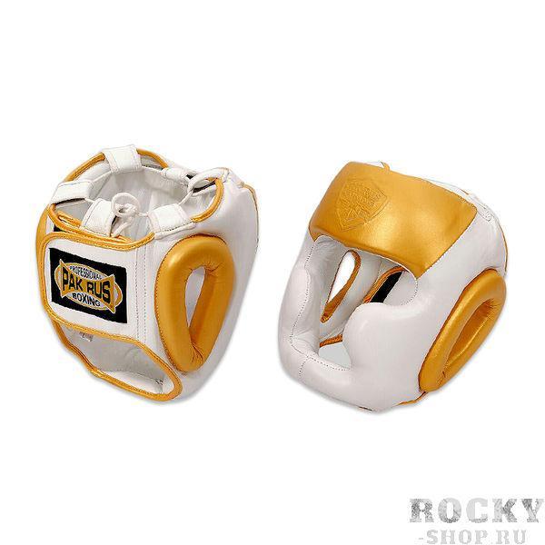 Боксерский шлем Pak Rus Leather Full Face White/Gold Pak Rus