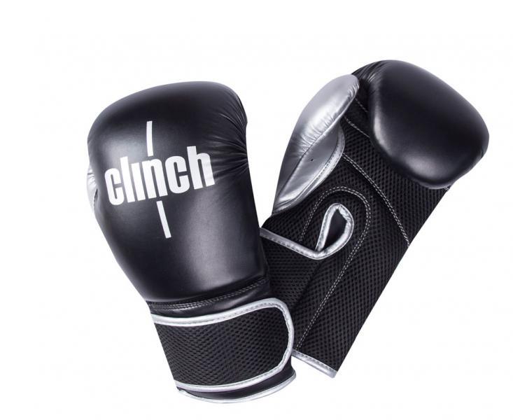 Перчатки боксерские Clinch Aero черно-серебристые, 12 унций Clinch Gear