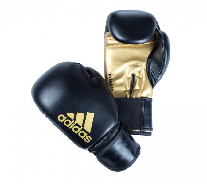Перчатки боксерские Hybrid 50 черно-золотые, 14 унций Adidas
