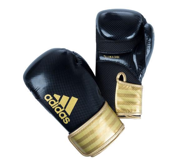 Перчатки боксерские Hybrid 65 черно-золотые, 12 унций Adidas