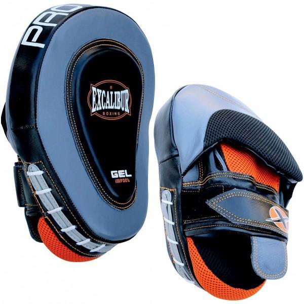 Лапы боксерские Excalibur 828/02 Grey/Black/Orange Буйволиная кожа (пара) Excalibur