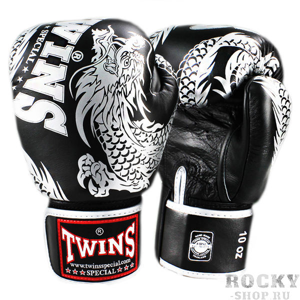 Боксерские перчатки TWINS FBGV-49 New Dragon Black Silver, 12 OZ Twins Special
