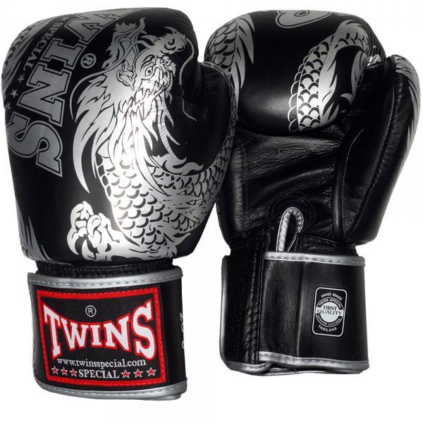 Боксерские перчатки TWINS FBGV-49 New Dragon Black Silver, 16 OZ Twins Special