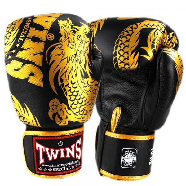 Боксерские перчатки TWINS FBGV-49 New Dragon Black Gold, 16 OZ Twins Special