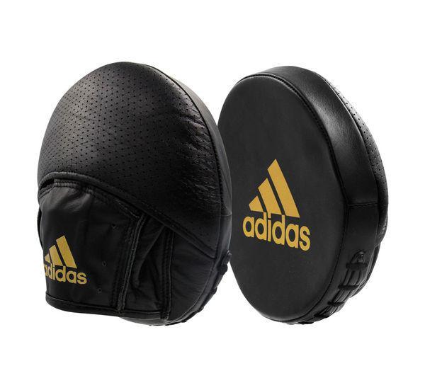 Лапы Speed Disk Punching Mitt Leather черно-золотые Adidas