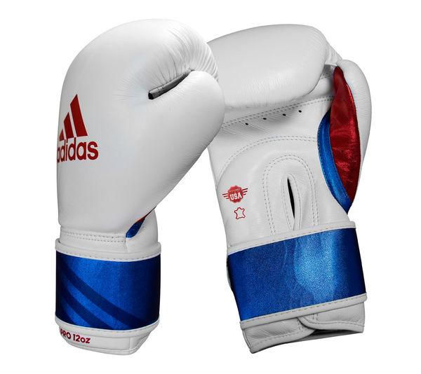 Перчатки боксерские Speed Pro бело-сине-красные Adidas 14 унций (арт. 32936)  - купить со скидкой