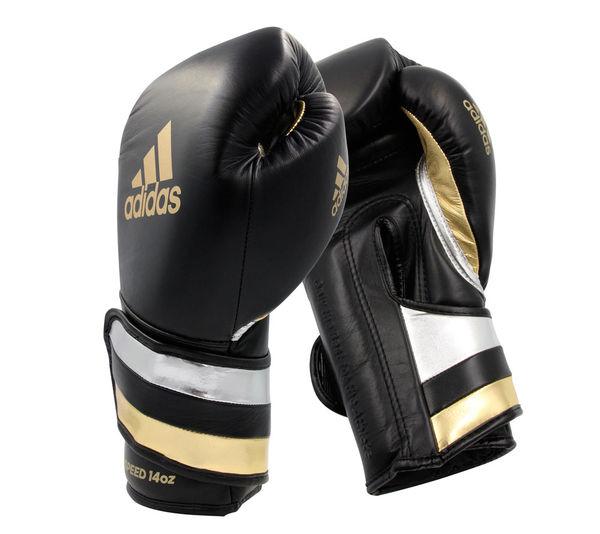 Перчатки боксерские AdiSpeed черно-золото-серебристые, 14 унций Adidas