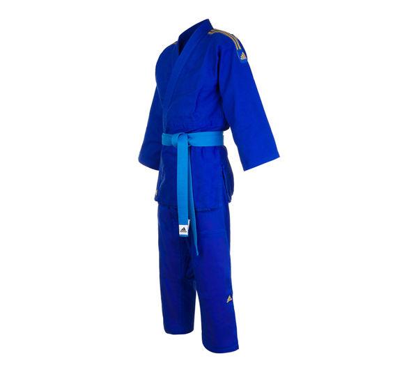 Кимоно для дзюдо Contest синее с золотыми полосками Adidas