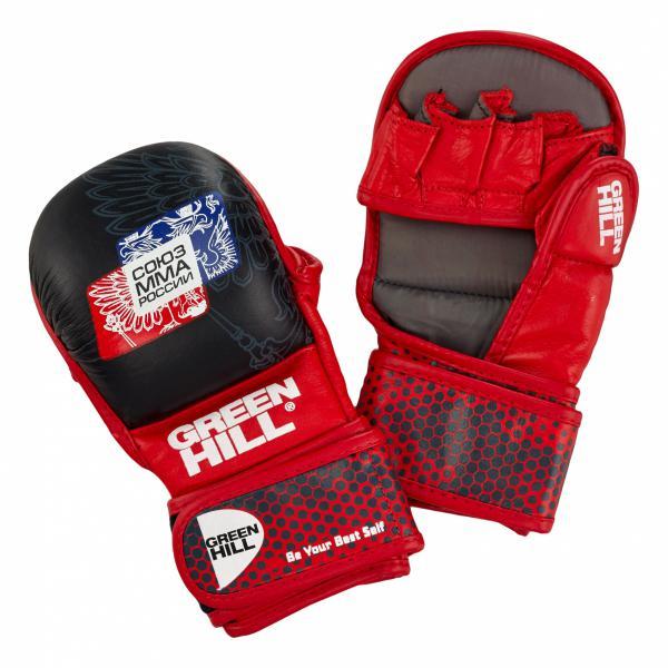 Перчатки MMA Green Hill, одобренные Союзом ММА России, черно-красные Green Hill