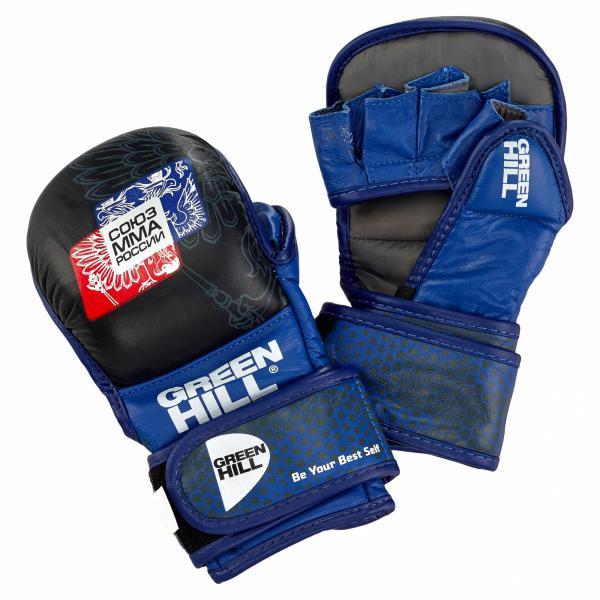 Перчатки MMA Green Hill, одобренные Союзом ММА России, черно-синие Green Hill фото
